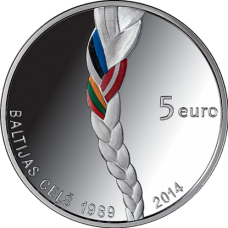 "Latvia 5 euro 2014 ""Baltic Way"""
