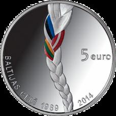 "Latvia 5 euro 2014 ""Baltic Way"""