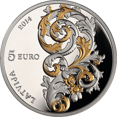 "Latvia 5 euro 2014 ""Baroque of Courland"""
